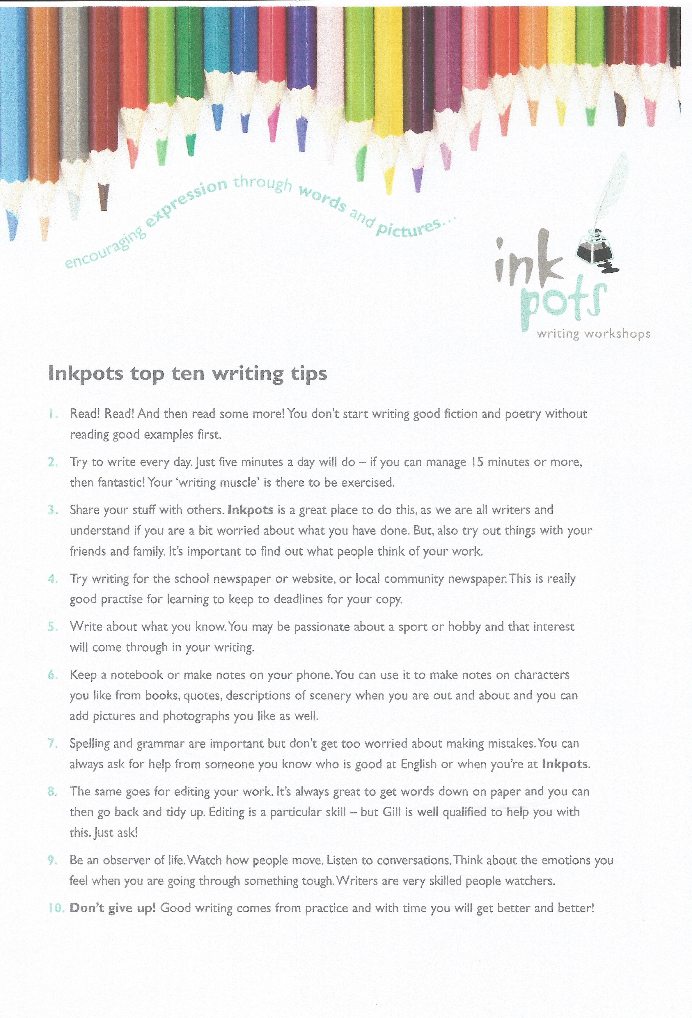 writing tips for the back