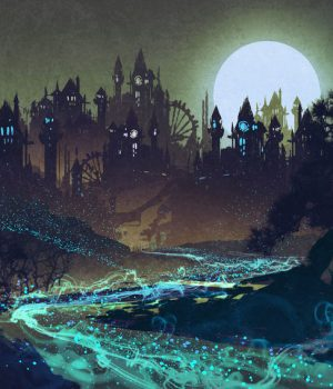 45811795 - beautiful landscape with mysterious river,full moon over castles,illustration painting